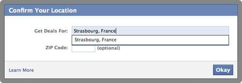 Facebook Deals - Recherche d'une localisation