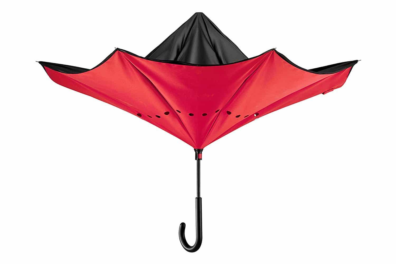 parapluie inversé rouge et noir